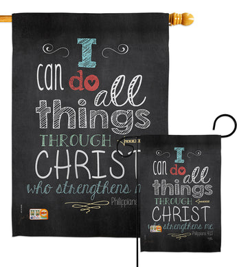 All Things Through Christ - Impressions Decorative Garden Flag G165119-BO