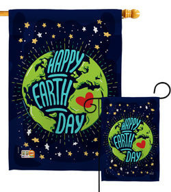 Happy Earth Day - Expression Inspirational Vertical Impressions Decorative Flags HG137176 Made In USA