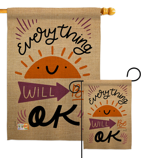 Everything Ok - Expression Inspirational Vertical Impressions Decorative Flags HG137188 Made In USA