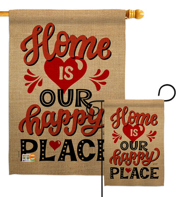 Home is Happy Place - Expression Inspirational Vertical Impressions Decorative Flags HG137200 Printed In USA