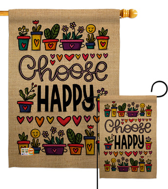 Choose Happy - Expression Inspirational Vertical Impressions Decorative Flags HG137205 Made In USA