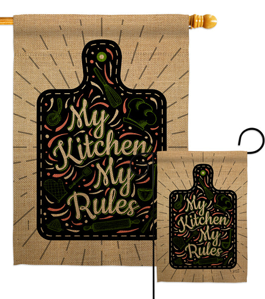 My Kitchen My Rules - Expression Inspirational Vertical Impressions Decorative Flags HG137273 Made In USA