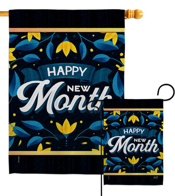 Happy New Month - Expression Inspirational Vertical Impressions Decorative Flags HG137461 Made In USA