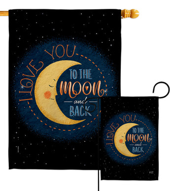 Moon and Back - Expression Inspirational Vertical Impressions Decorative Flags HG137464 Made In USA