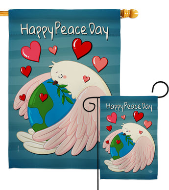 Happy Peace Day - Expression Inspirational Vertical Impressions Decorative Flags HG192420 Made In USA