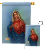 Sacred Heart Mary - Faith & Religious Inspirational Vertical Impressions Decorative Flags HG103051 Made In USA