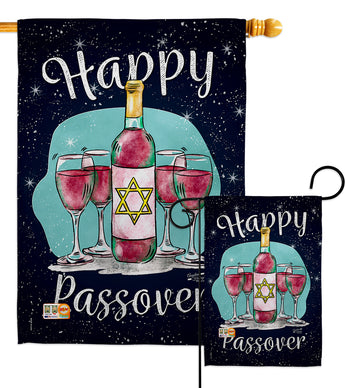 Happy Passover - Faith & Religious Inspirational Vertical Impressions Decorative Flags HG137002 Made In USA