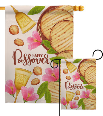 Happy Pesach - Faith & Religious Inspirational Vertical Impressions Decorative Flags HG137248 Made In USA