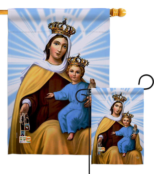 Our Lady of Mount Carmel - Faith & Religious Inspirational Vertical Impressions Decorative Flags HG192165 Made In USA