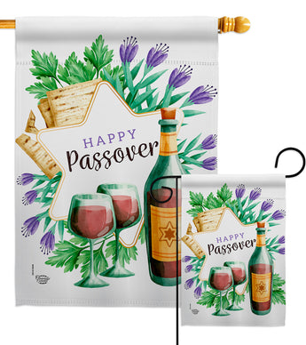 Happy Passover - Faith & Religious Inspirational Vertical Impressions Decorative Flags HG192242 Made In USA