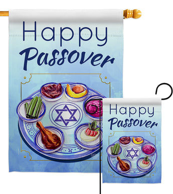 Happy Passover - Faith & Religious Inspirational Vertical Impressions Decorative Flags HG192318 Made In USA