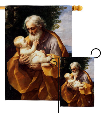 St. Joseph And Christ Child - Faith & Religious Inspirational Vertical Impressions Decorative Flags HG192595 Made In USA