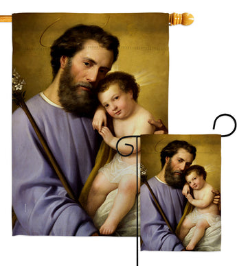 St. Joseph And Infant Jesus - Faith & Religious Inspirational Vertical Impressions Decorative Flags HG192597 Made In USA