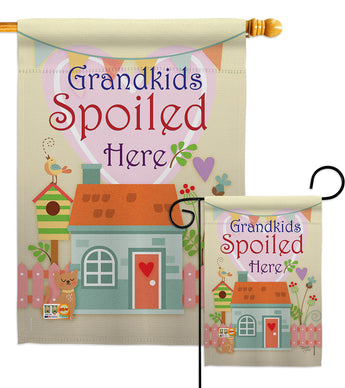 Grandkids Spoiled Here - Family Special Occasion Vertical Impressions Decorative Flags HG115003 Made In USA