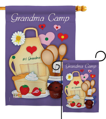 Grandma Camp - Family Special Occasion Vertical Impressions Decorative Flags HG115055 Made In USA