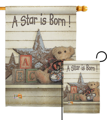 A Star is Born! - Family Special Occasion Vertical Impressions Decorative Flags HG115076 Made In USA