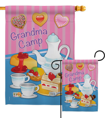 Grandma Camp - Family Special Occasion Vertical Impressions Decorative Flags HG115077 Made In USA