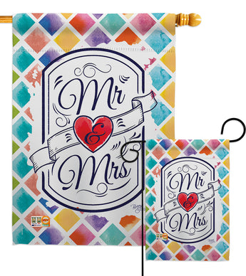 Mr & Mrs - Family Special Occasion Vertical Impressions Decorative Flags HG115112 Made In USA