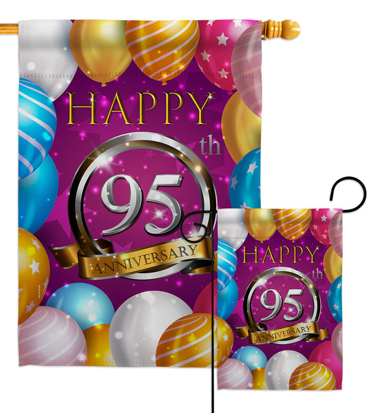 Happy 95th Anniversary - Family Special Occasion Vertical Impressions Decorative Flags HG115202 Made In USA