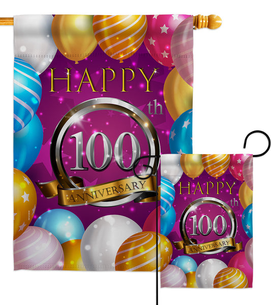 Happy 100th Anniversary - Family Special Occasion Vertical Impressions Decorative Flags HG115203 Made In USA