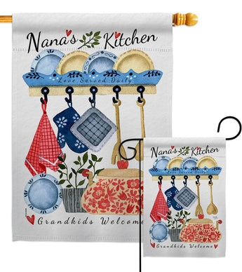 Nana's Kitchen - Family Special Occasion Vertical Impressions Decorative Flags HG115246 Made In USA