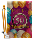 Happy 50th Anniversary - Family Special Occasion Vertical Impressions Decorative Flags HG115193 Made In USA