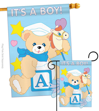It's a Boy - Family Special Occasion Vertical Applique Decorative Flags HG115034