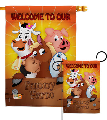 Funny Farm - Farm Animals Nature Vertical Impressions Decorative Flags HG110039 Made In USA