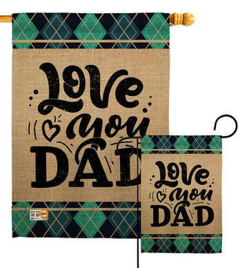 Love You Dad - Father's Day Summer Vertical Impressions Decorative Flags HG115153 Made In USA