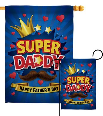 Super Daddy - Father's Day Summer Vertical Impressions Decorative Flags HG115172 Made In USA