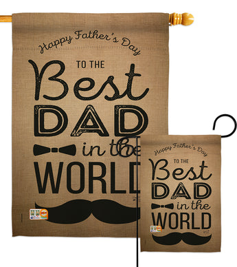 Best Dad in the World - Father's Day Summer Vertical Impressions Decorative Flags HG137049 Made In USA