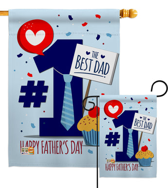 Number 1 Dad - Father's Day Summer Vertical Impressions Decorative Flags HG137152 Made In USA