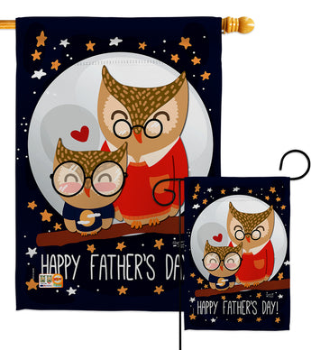 Owls Father's Day - Father's Day Summer Vertical Impressions Decorative Flags HG137177 Made In USA