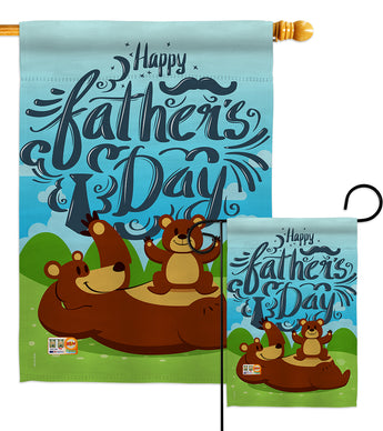 Beary Happy Father's Day - Father's Day Summer Vertical Impressions Decorative Flags HG192065 Made In USA