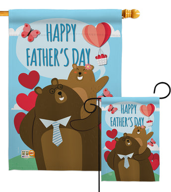 Father Day Bears - Father's Day Summer Vertical Impressions Decorative Flags HG192210 Made In USA