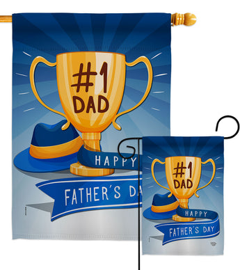 No.1 Dad - Father's Day Summer Vertical Impressions Decorative Flags HG192364 Made In USA