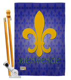 Bienvenue - Fleur De Lys Interests Vertical Impressions Decorative Flags HG118009 Made In USA