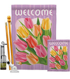 Welcome Tulips - Floral Spring Vertical Impressions Decorative Flags HG104066 Imported