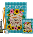 Welcome Family and Friends - Floral Spring Vertical Impressions Decorative Flags HG137033 Made In USA