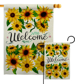 Welcome Sunflowers Bouquet - Floral Spring Vertical Impressions Decorative Flags HG104091 Made In USA