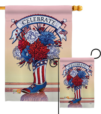 American Boots - Fourth of July Americana Vertical Impressions Decorative Flags HG111007 Made In USA