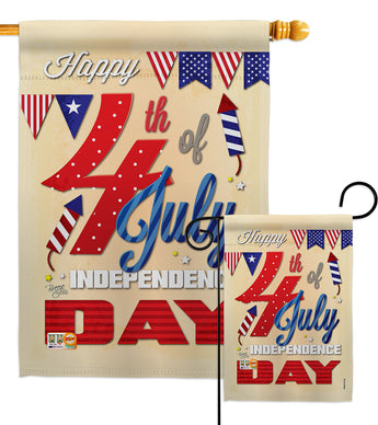 Happy 4th - Fourth of July Americana Vertical Impressions Decorative Flags HG111008 Made In USA