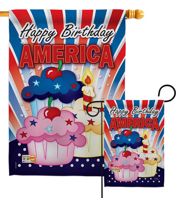 American Cupcake - Fourth of July Americana Vertical Impressions Decorative Flags HG111052 Imported