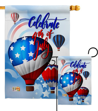 July 4th Hot Air Balloon - Fourth of July Americana Vertical Impressions Decorative Flags HG111078 Made In USA