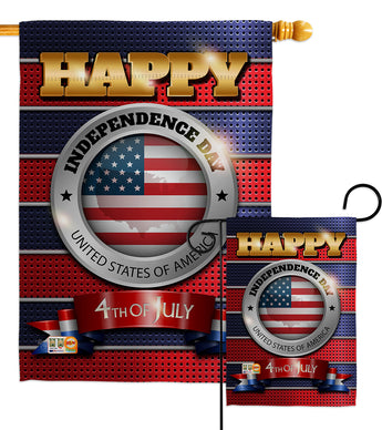 Happy Independence Day - Fourth of July Americana Vertical Impressions Decorative Flags HG111080 Made In USA