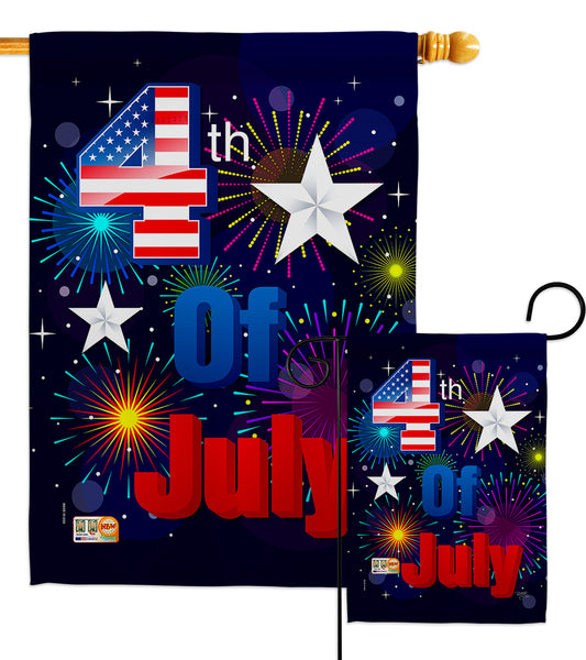 Fireworks July 4th - Fourth of July Americana Vertical Impressions Decorative Flags HG111089 Made In USA