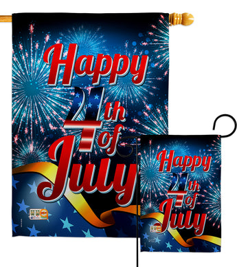 Happy 4th of July - Fourth of July Americana Vertical Impressions Decorative Flags HG137022 Made In USA