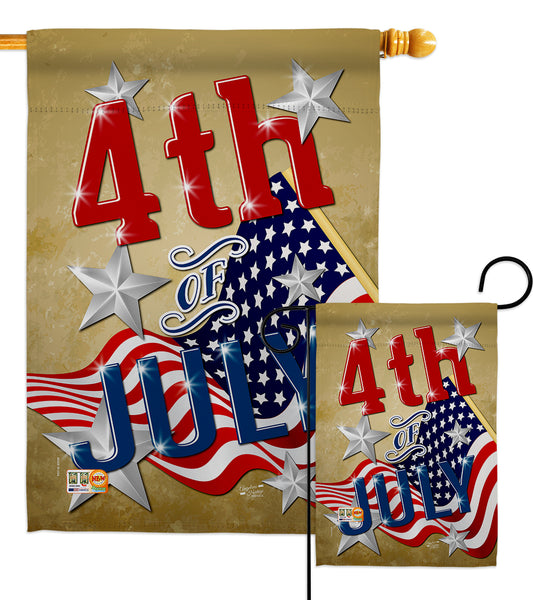 4th of July - Fourth of July Americana Vertical Impressions Decorative Flags HG137072 Made In USA