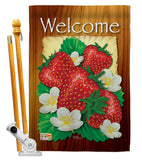 Welcome Strawberries - Fruits Food Vertical Impressions Decorative Flags HG117023 Made In USA