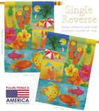 Tropical Collage - Fun In The Sun Summer Vertical Impressions Decorative Flags HG106067 Made In USA